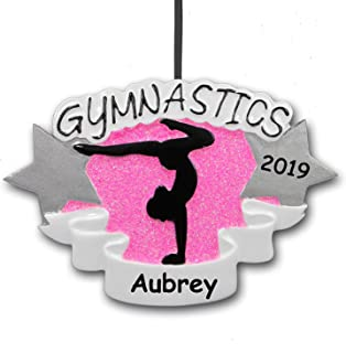 Personalized 2019 Gymnastics Christmas Ornament Gift for Gymnast Sports Cheerleading Tumbling with Your Custom Name and Year