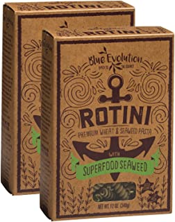 Rotini Pasta Infused With Superfood Seaweed 12oz, Classic Tasting Premium Whole Grain Wheat Pasta Plus Seaweed Benefits, Exceptionally Fulfilling, Non-GMO, Great Iron Source (2 Boxes)