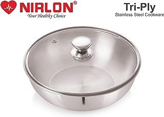 Nirlon Stainless Steel Triply Induction Kadai, 240mm, Silver, Glass lId, Steel - Aluminum - Steel TRI PLY Technology, 2.5liter