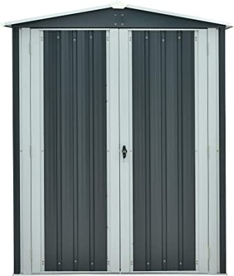 Hanover HANAPEXSHD-GW Twist Lock and 2 Tool Hooks, Dark Gray/White 3 5 x 6-Ft. Galvanized Steel Apex Patio Storage Shed