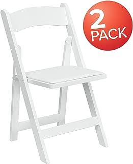 Flash Furniture 2 Pk. HERCULES Series White Wood Folding Chair with Vinyl Padded Seat