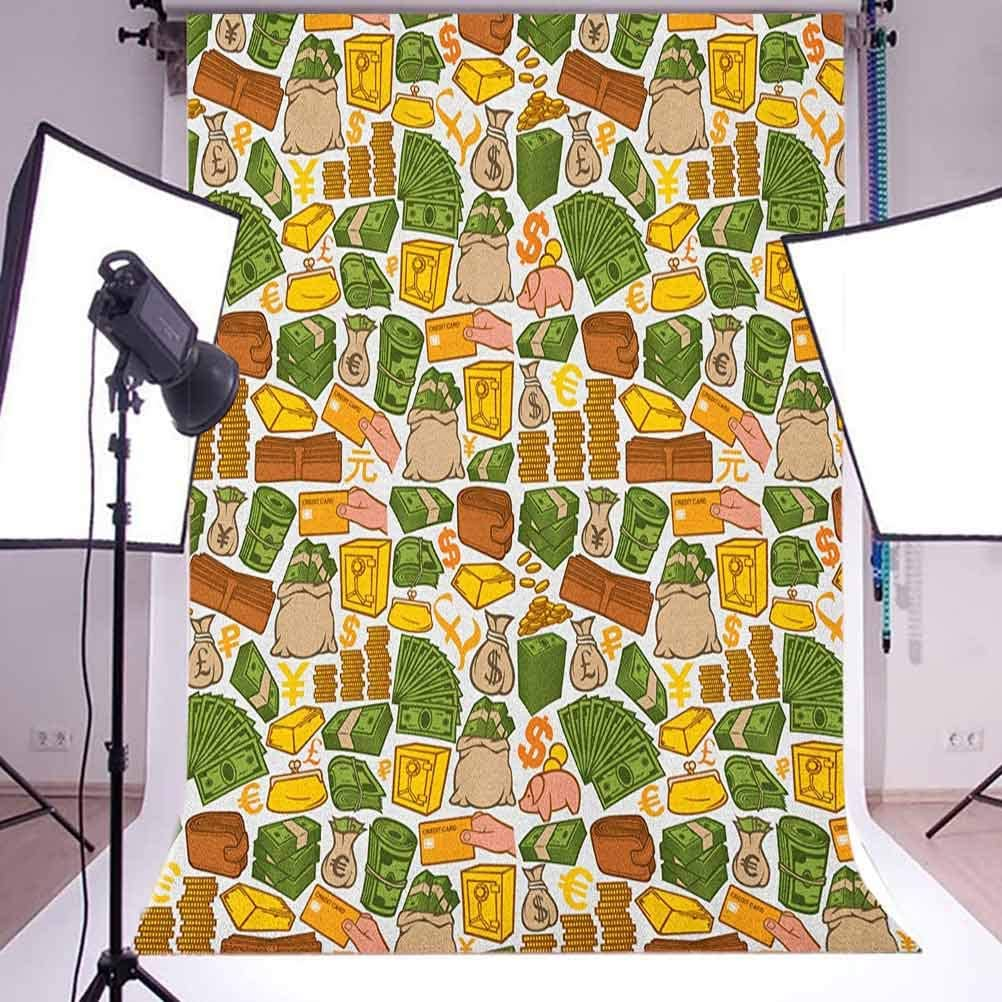 8x12 FT Money Vinyl Photography Background Backdrops,Colorful Symbols of Richness Wallet Credit Card Icons of Money Dollar Pound Signs Background for Selfie Birthday Party Pictures Photo Booth Shoot