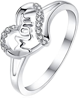 Wuziwen Mom Sterling Silver Cubic Zirconia Cz Heart Ring for Women Mother's Rings