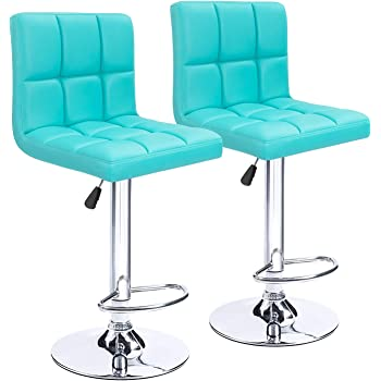 Amazon.com: Homall Bar Stools Modern PU Leather Adjustable Swivel Barstools, Armless Hydraulic Kitchen Counter Bar Stool Synthetic Leather Extra Height Square Island Barstool With Back Set Of 2 (Blue): Kitchen & Dining