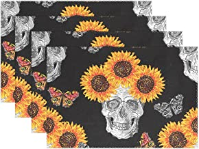 JOKERR Place Mats Sets of 6, Flower Skull Sunflower Placemats Table Mats Non Slip Washable Heat Resistant for Kitchen
