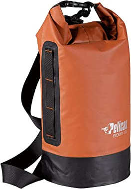 Pelican Waterproof Dry Bag - Exodry - Thick & Lightweight - Roll Top Dry Compression Sack Keeps Gear Dry for Kayaking, Boating, Beach, Rafting, Hiking, Camping and Fishing (10L), Terra; Black; Gray