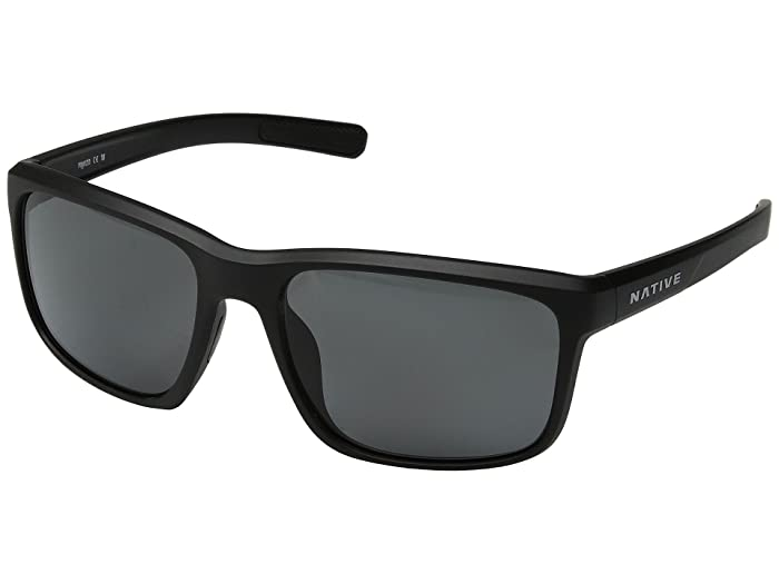 Native Eyewear Wells (Matte Black Crystal/Gray Polarized Lens) Athletic Performance Sport Sunglasses