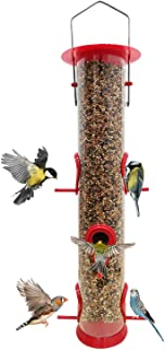 Hanging Bird Feeder Tube Mangeoire Oiseaux with 6 Port Bird Feeders Premium Hard Plastic with Steel Hanger Weatherproof and Water Resistant Great for Attracting Birds (1 Pack- Red)