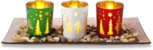 OYATON Decorative Tealight Candle Holders with Glass Tray, Votive Candle Holders Set of 3 for Christmas Table Decoration and Living Room Home Decor (Exclude Candles)