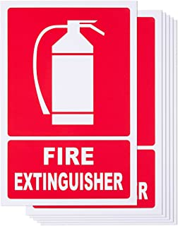 Juvale 6-Piece Fire Extinguisher Signs - PVC Signs for Fire Extinguisher Wall Hanging, Extinguisher Mount Marker, Red and White - 11.7 x 7.8 Inches