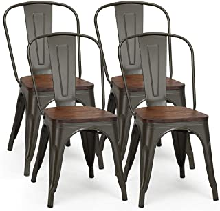 COSTWAY 18 Inch Dining Chair Set of 4, Industrial Vintage...
