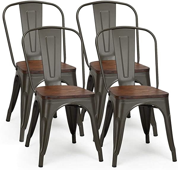 COSTWAY Tolix Style Dining Chairs Industrial Metal Stackable Cafe Side Chair W Wood Seat Set Of 4 Gun