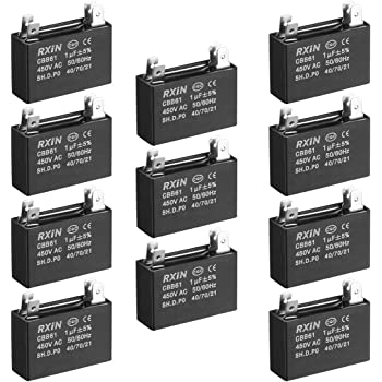 uxcell CBB61 Run Capacitor 450V AC 6uF Doule Insert Metallized Polypropylene Film Capacitors for Ceiling Fan 3pcs