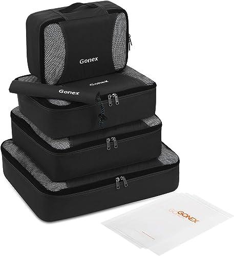 Packing Cubes Set 5Pcs- Versatile Ultra Lightweight Travel Organizers Packing Bags, Bonus 4 Reusable Zip Bags Black