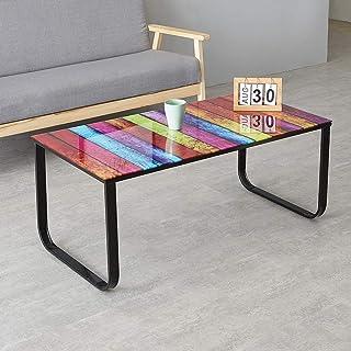 OFCASA Table basse en verre avec pieds en métal et peinture arc-en-ciel - Table basse moderne - Table de salon