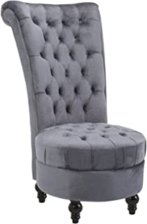 HOMCOM Retro High Back Armless Chair Living Room Furniture Upholstered Tufted Royal Accent Seat- Soft Grey