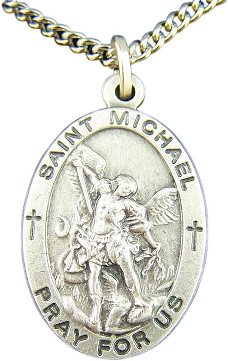 Nickel Silver Catholic Patron Saint Oval Max 76% OFF Michael Pendant Medal Colorado Springs Mall