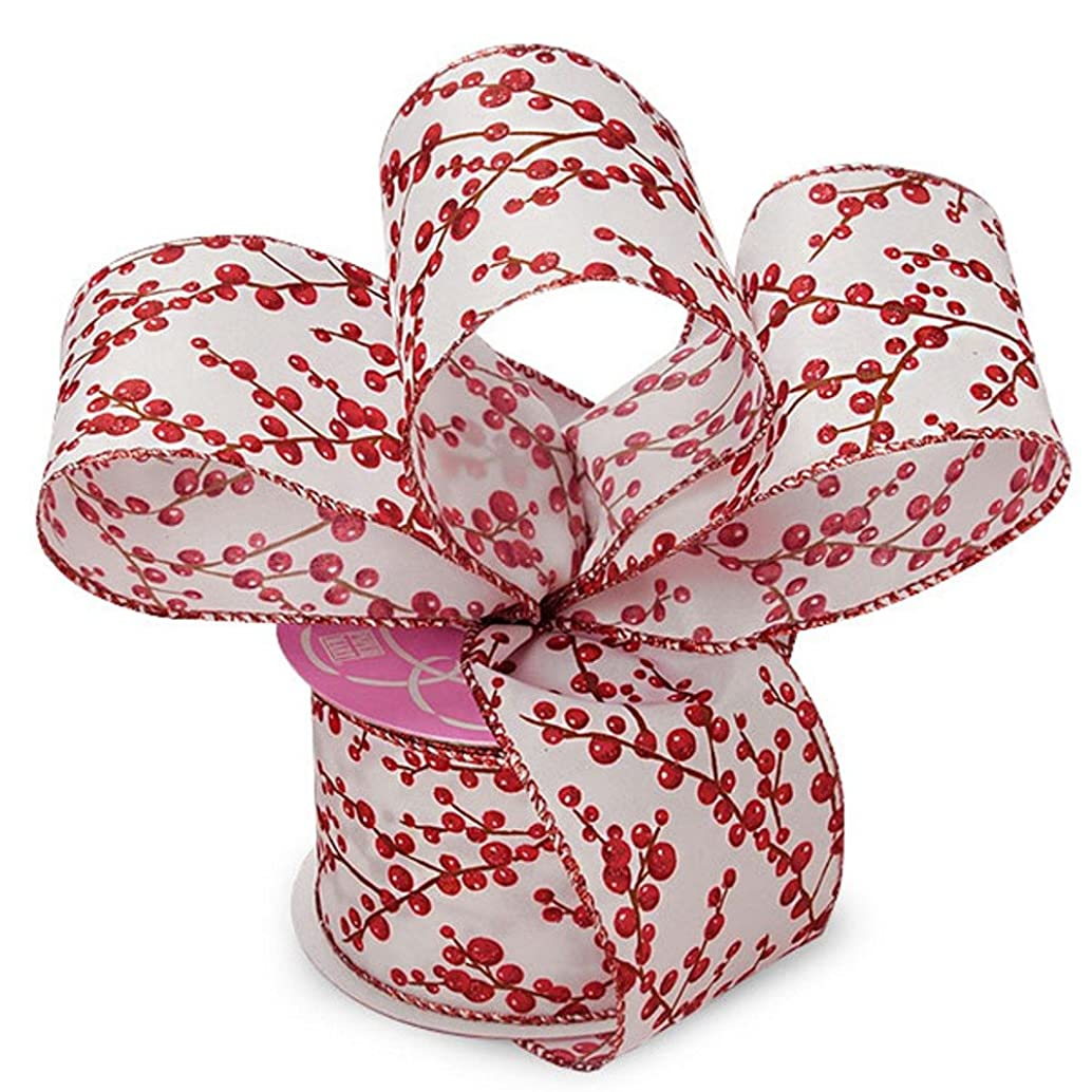 Red Holly Berries Wired Satin Ribbon - 2 1/2in. Width - 10 Yards 56111801