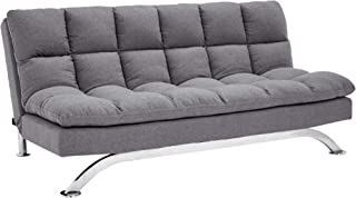 Sunrise Coast Geneva Fabric-Upholstery Futon Couch with Stainless-Steel Legs, Harbor Gray