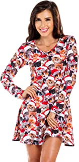 Women's Ugly Christmas Sweater Party Dress - Female Cute Christmas Dress for Holidays