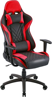 Eureka Gaming Chair Gamer Chair, Computer Chair Video Game Chair Racing Ergonomic Backrest and Seat Height Adjustable Swivel Desk Chair with Headrest and Lumbar Pillow for Teens and Adult, Red