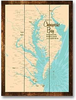 Chesapeake Bay MD Virginia Vintage-Style Map Rustic Wood Art Print by Lakebound (9