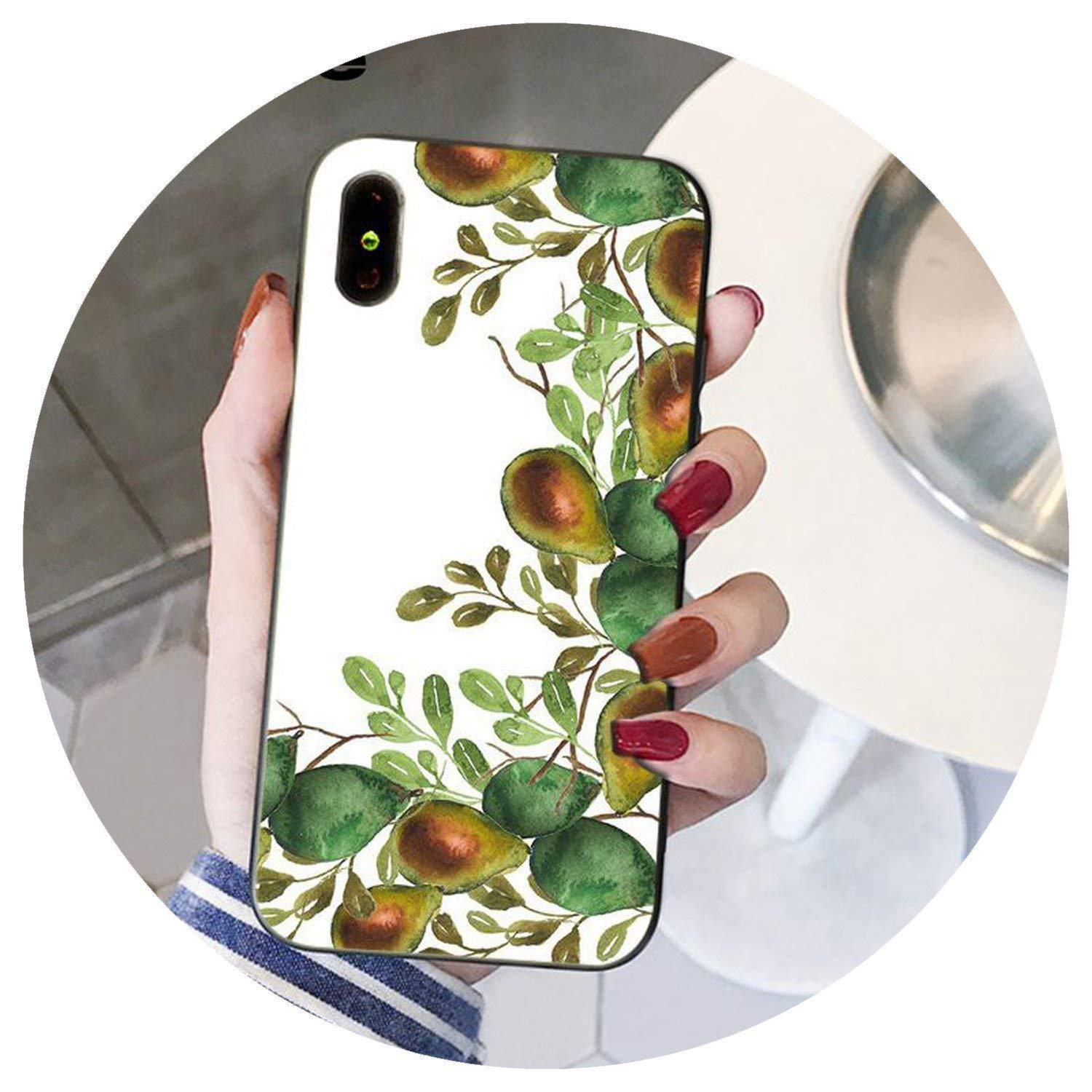 Avocado Prints Gold Tropical TPU Soft Silicone Phone Cover for iPhone 8 7 6 6S Plus X XS MAX 5 5S SE XR Cover,A2,for iPhone 5 5s SE,A16,ForiPhone66s