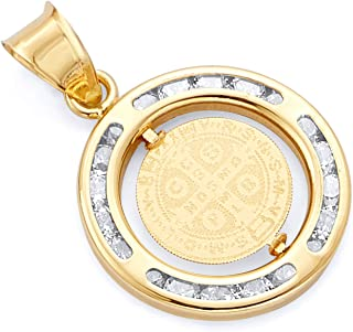 GoldenMine Fine Jewelry Collection 14k Rose Gold Religious St. Benito CZ Medal