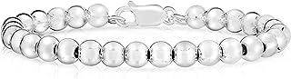 Pulsera y collar de plata de ley 925 hecha a mano italiana de 4 mm a 10 mm para mujer, pulsera de cuentas de plata, pulser...