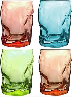 Bormioli Rocco - Trinkgläser | farbig | 4-teiliges Set | 300ml | grün, türkis, rot, Orang | Glas | 11 x 7,5 x 7,5 cm | Außergewöhnliche Gläser - geknitterte Design