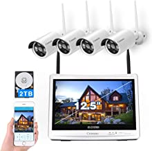 "[8CH,Expandable]All in one with 12.5"" Monitor Wireless Security Camera System, Cromorc Home Business CCTV Surveillance 8CH..."