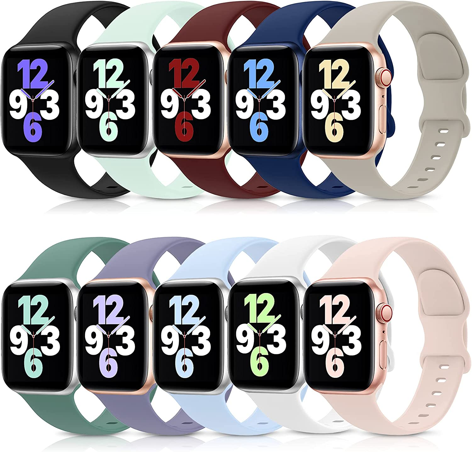 10 Pack Bands Compatible with Apple Watch Band 38mm 40mm 42mm 44mm, Soft Silicone Sport Replacement Strap Compatible with iWatch Series 6 5 4 3 2 1 SE Women Men 38MM/40MM