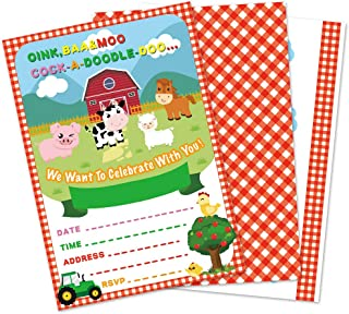 WERNNSAI Farm Party Invitations with Envelopes - 20 Count Farm Animals with Barnyard Tractor Invite Cards for Kids Boys Birthday Baby Shower Farm Themed Party Supplies