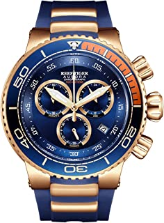 Reef Tiger Mens Luxury Watches Chronograph Date Rubber Strap Rose Gold Analog Watches for Men RGA3168