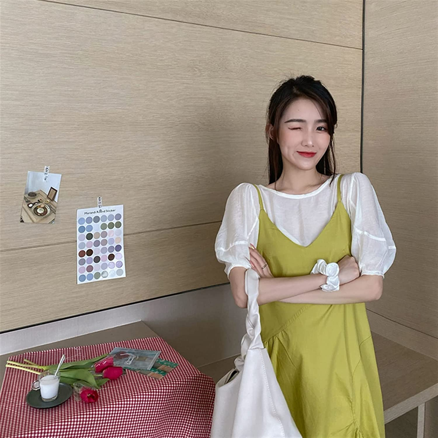 Zzx Bubble Sleeve Dress Temperament Female Summer Slings Pure Sweet Fashion Skirt (Color : Lemon Yellow Skirt, Size : One Size)