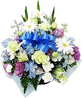 お供え お悔み 法要 四十九日 生花 フラワーアレンジメント リボン 入り 高さ35cm (リボンの色:青)