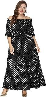 Women's Boat Neck Plus Size Polka Dot Dress, Beach Gown Evening Dress