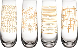 Fifth Avenue Crystal 229469-4SFL Festive Set of 4 Lead-free Stemless Champagne Flutes, 2.4x6.3