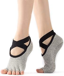 WEANMIX Yoga Socks Non Slip Women Toeless Half Toe Grip Socks for Ballet Pilates Barre Dance