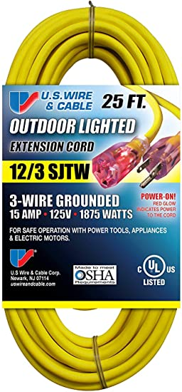 Us Wire 74025 12 3 Sjtw 3 Wire Grounded Yellow Vinyl Cord With Illuminated Plugs 25 Feet Bundle 2 Items Amazon Com