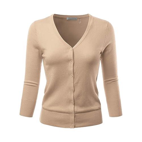 9418758134 EIMIN Women s 3 4 Sleeve V-Neck Button Down Stretch Knit Cardigan Sweater (