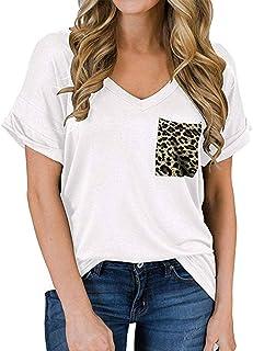 D A O X I N G Women's Short Sleeve V- Neck Shirts Loose Casual Tee T- Shirt