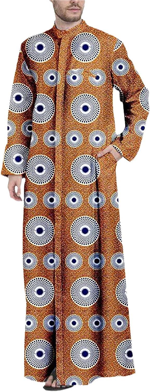 Men Ankara Print Dashiki Lace Long Sleeve Loose Long Coats Texture Fashion Comfortble Robes