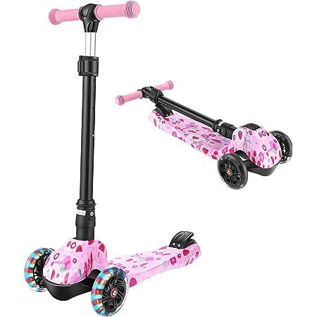 WeSkate Patinete de tres ruedas plegable para niños de 3 ruedas, para niños y niñas de 3 a 12 años, con sistema de plegado de 3 segundos