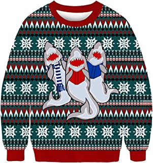 MIS1950s Mens Casual Christmas Sweater Unisex Graphic 3D Print Party Long Sleeve Top Pullover T-Shirt