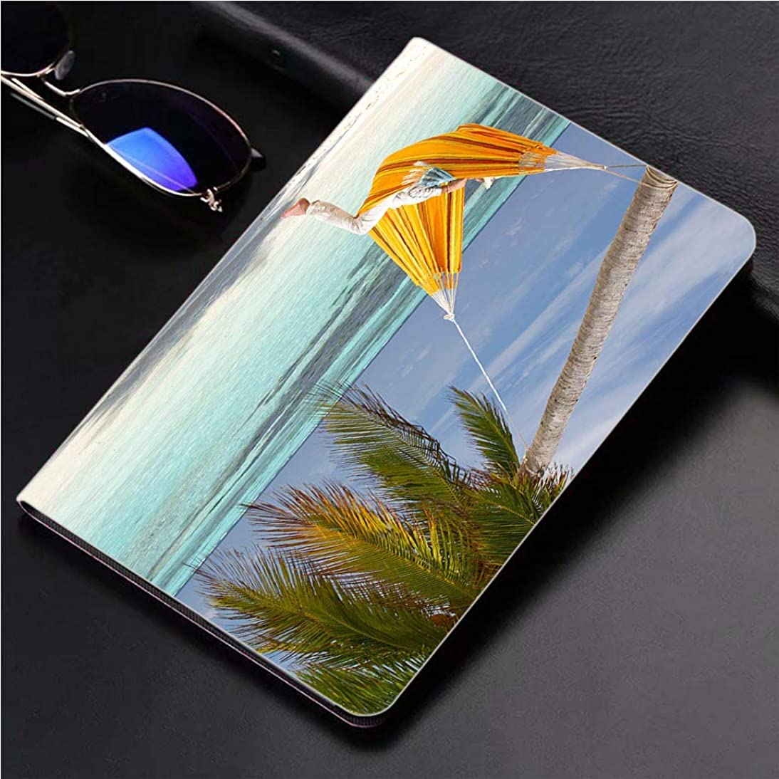 Compatible with 3D Printed iPad Pro 10.5 Case Orange Hammock Hanging on a Paradise Beach 360 Degree Swivel Mount Cover for Automatic Sleep Wake up ipad case upar967289985419