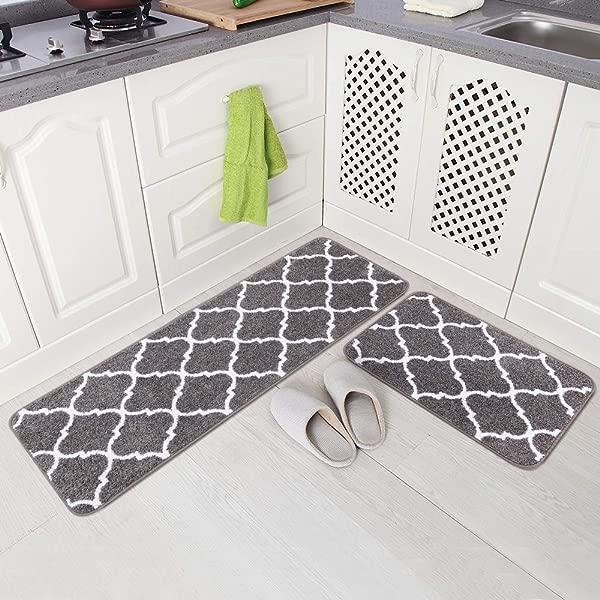 Carvapet 2 Pieces Microfiber Moroccan Trellis Non Slip Soft Kitchen Mat Bath Rug Doormat Runner Carpet Set 17 X48 17 X24 Grey