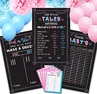 Baby Gender Reveal Party Supplies (26pcs) 3 Games Poster (12'' x 18'') Old Wives Tales, Voting Scoreboard, Baby Birth Guess, 24 Cards Baby Game, 16 Balloons Pink & Blue, 6 Poms Paper decorations !