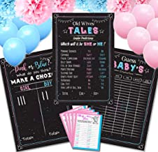 Baby Gender Reveal Party Supplies (26pcs) 24 Cards Baby Game, 3 Big Baby Games Poster (12'' x 18'') Old Wives Tales, Voting Scoreboard, Baby Guess,16 Balloons Pink & Blue, 6 Poms Paper decorations !