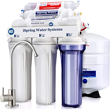iSpring RCC7AK, NSF Certified, 6-Stage Superb Taste High Capacity Under Sink Reverse Osmosis Drinking Water Filter System with Alkaline Remineralization-Natural pH, White